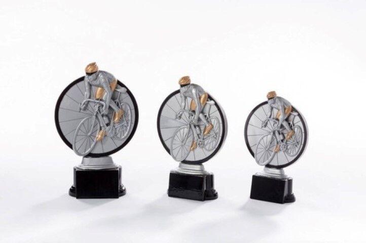 Radsport Rad Radfahren Preis Pokal mit Gravur einzeln oder als 3er Serie
