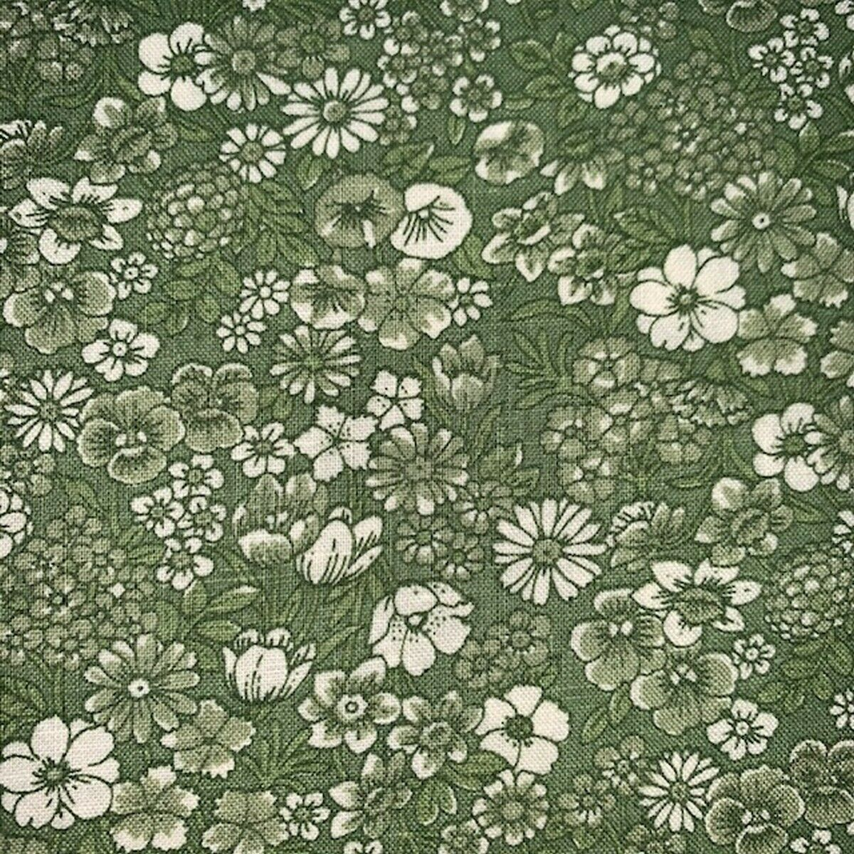 Image 1 - Vintage Concord Fabrics Monochromatic Green Country Floral By the Yard Quilting