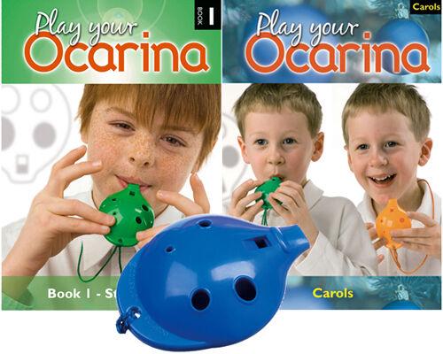 Play Your Ocarina BOOKs 1 and CAROLS Blue 4-hole OCARINA with FREE DELIVERY