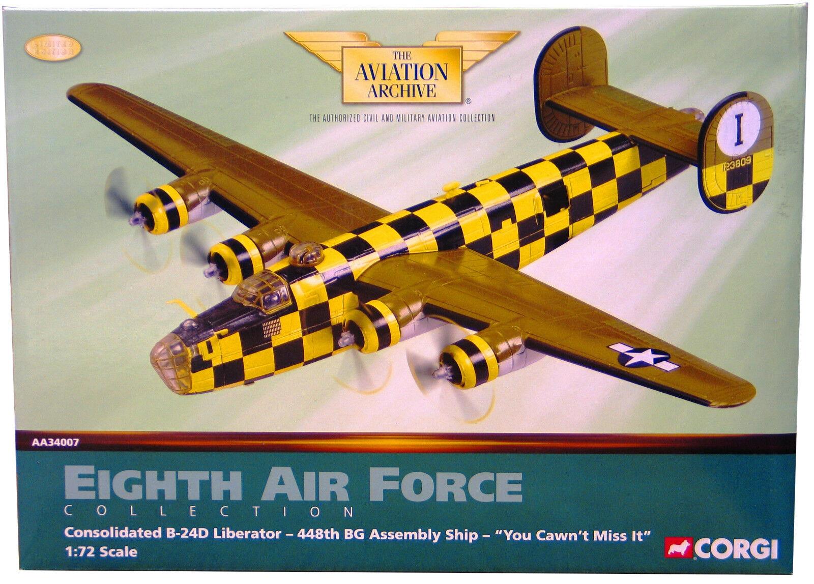 Corgi AA34007 B - B-24d Liberator USAAF 448th Bg   You Cawn 'T Miss It   Nuovo