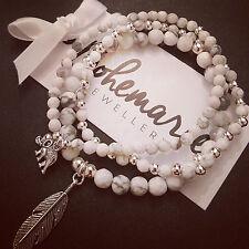 White howlite feather charm bracelet stack of 3 gemstone bijoux jewellery boho