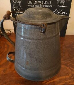 Granite-Enamel-Ware-Gray-Speckled-Extra-Large-Cowboy-Coffee-Pot-Kettle-2-Handles