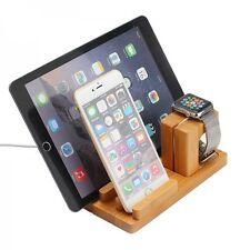Docking station, estación de carga bambú mesa soporte para iPad iwatch iPhone 5 6 6s +