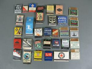 Antique-1930s-Feature-Matchbook-LOT-Restaurants-Ocean-Liner-Railroad-Pull-Quick