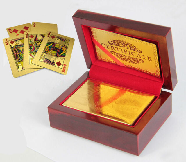 Novelty 24k 999.9% Genuine Gold Poker Playing Cards Deck With Wooden Box  JCAU
