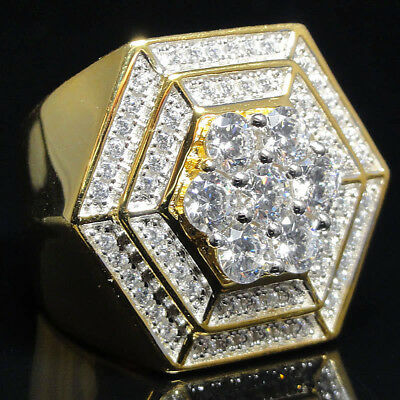Rectangle Shape Mens Big Bold Yellow Gold Finish Sterling Silver Pinky Ring Band
