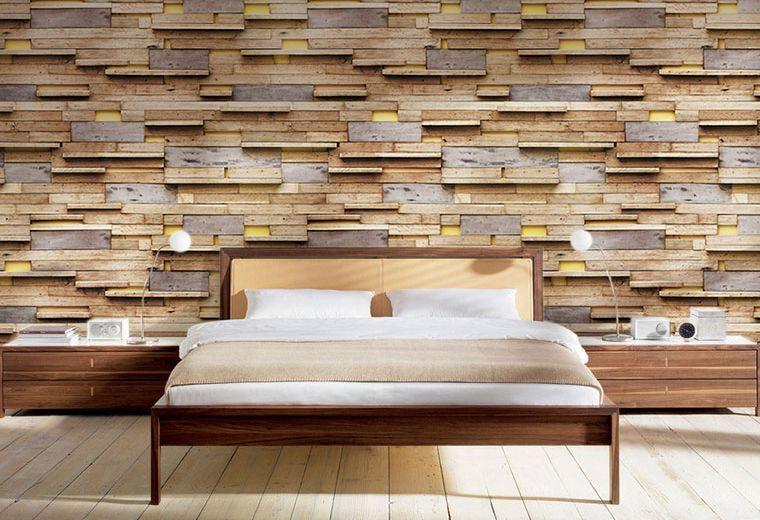 3D Mixed Wood Lighting Papier Wand Drucken Decal Wand Deco Innen Wand Murals