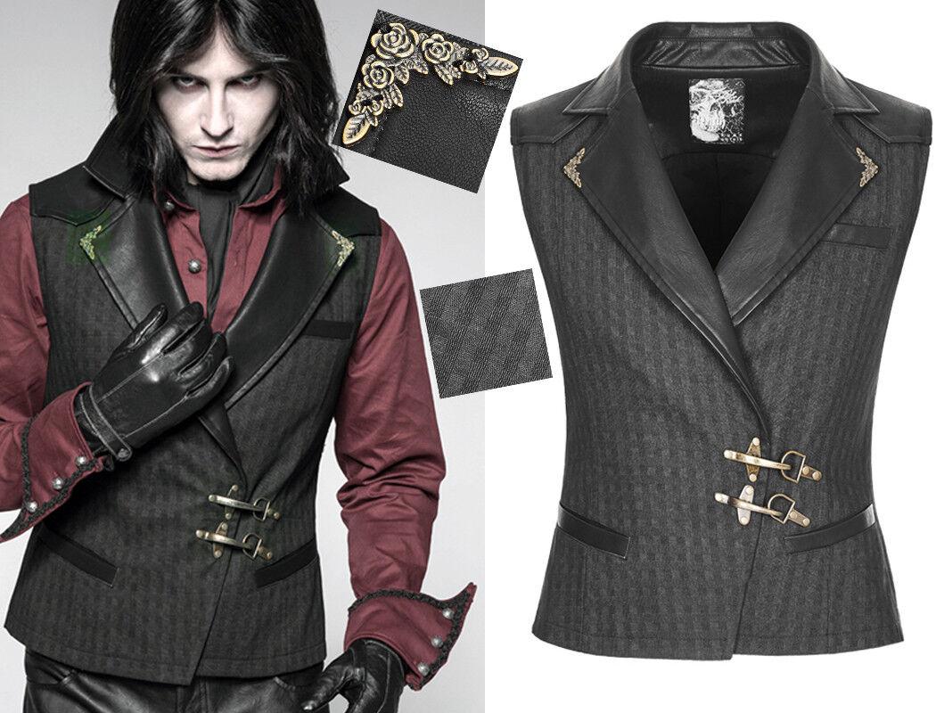 Gilet veste steampunk gothique dandy carreaux fermoir bronze PunkRave Homme nero