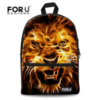 Cool Animal Backpack Cavnas School Bag Boys Bookbag Teenagers With Lion Print
