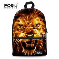 Cool Animal Backpack Cavnas School Bag Boys Bookbag Teenagers With Lion Print