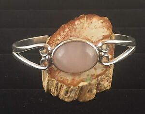 Solid Sterling Silver Cuff Bracelet Avec 18x13mm 10.5 Ct Quartz Rose Gemme-afficher Le Titre D'origine