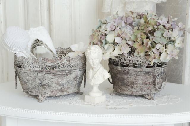 Übertopf Blumentopf Metalltopf Shabby Chic Vintage Landhaus Brocante klein
