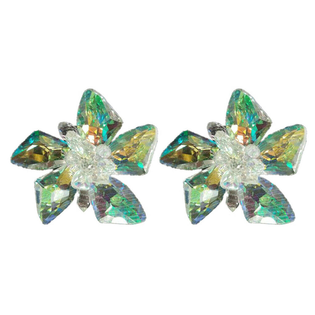 2 Pieces Crystal Flower Shoe Charms