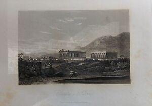 ITALIA-CAMPANIA-TEMPLES-OF-PAESTUM-GRABADO-ORIGINAL-DE-HAKEWILL-1820