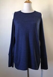 Calvin-Klein-NEW-Women-Size-Large-Heathered-Blue-Long-Sleeve-Cold-Shoulder-Top