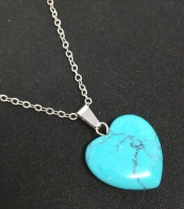 Sterling-Silver-Natural-Turquoise-Marcasite-Teardrop-Heart-Pendant-Necklace