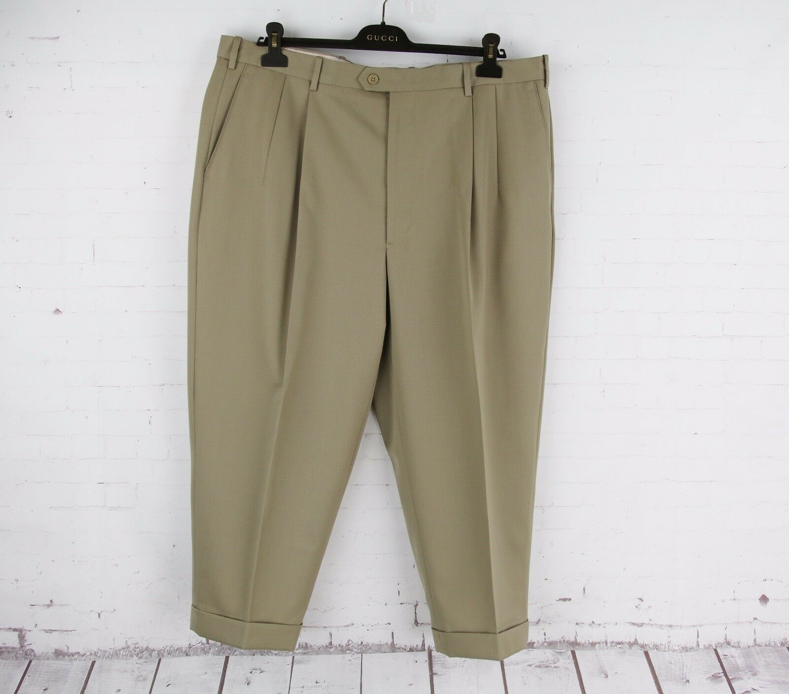 JB BRITCHES (40 41x24) Mens Khaki Worsted Wool WINSTON Pleat Cuff Dress Pants