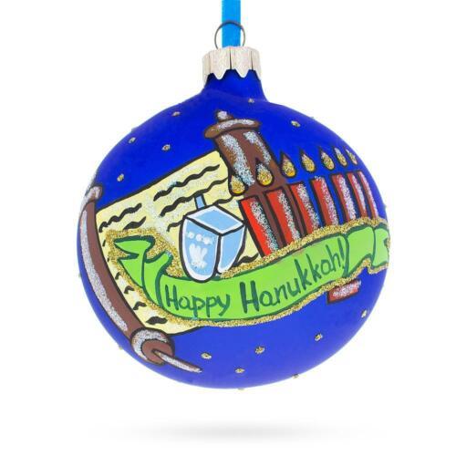 Happy Hanukkah Jewish Holiday Glass Ball Ornament