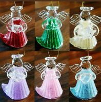 Set of 6 Blown Glass Angels Christmas Tree Decoration Hanging Ornament
