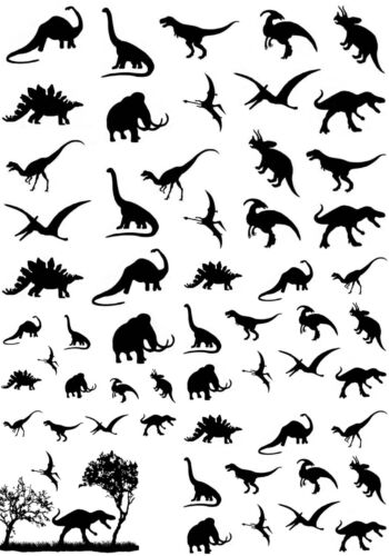 """1//2/"""" to 3//4/"""" Dinosaurs 5/"""" X 3-1//2/"""" Card Black Fused Glass Decals 16CC656"""