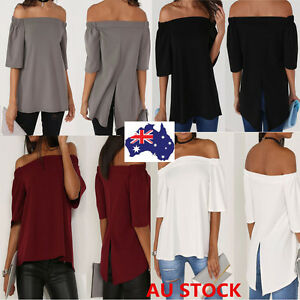 AU-Womens-Ladies-Off-Shoulder-Top-Casual-Frill-Tops-Loose-Blouse-Ladies-T-Shirt