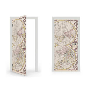 Adesivi Vinile Per Porte.18th Century World Map Vinyl Sticker For Door Doorwrap Door Skin
