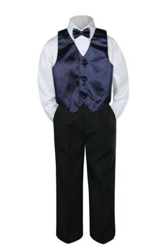 4pc Navy Blue Vest  Bow Tie Suit Pants Set Baby Boy Toddler Kid Uniform S-7
