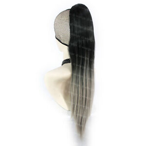 Wiwigs-Black-amp-Grey-Ombre-Long-Straight-Clip-In-Ponytail-Hairpiece-Extension