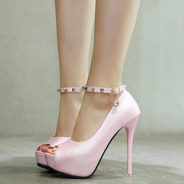 decolte stiletto 13 cm eleganti nero rosa plateau cinturino simil pelle 8084