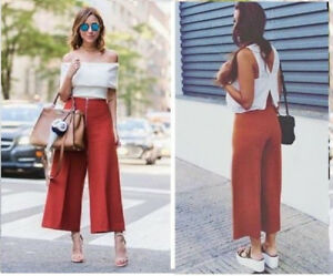 ZARA-BURNT-ORANGE-BRICK-HIGH-WAIST-CULOTTES-CROPPED-TROUSERS-PANTS-S-M