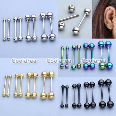 8x Stainless Steel Bar Barbell Ear Cartilage Lip Nose Tongue Eyebow Ring Jewelry