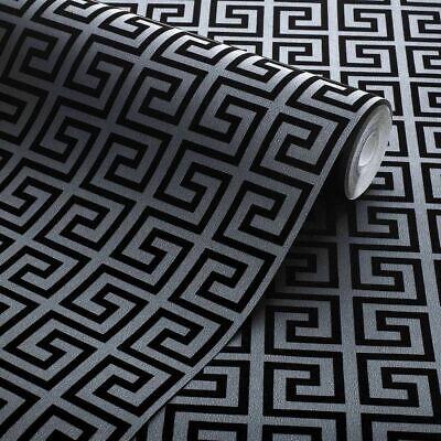 Exclusive Blackgrey Geometric Greek Key Velvet Flock Wallpaper J101 Ebay