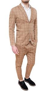 a2fd6e9925 Dettagli su Abito completo uomo Diamond Sartoriale beige quadri in cotone  100% made Italy