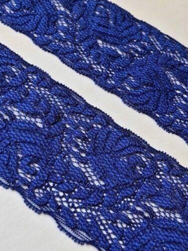 "laverslace Beautiful Indigo Blue Leaf Narrow Stretch Lace Trim 2.25/""//6cm"