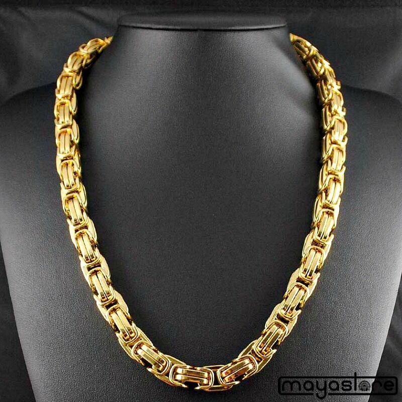 90CM   Φ14MM MASSIVE BYZANTINER KÖNIGSKETTE PANZERKETTE BIG KETTE EDELSTAHL gold