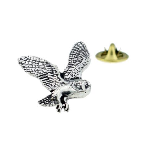 Barn Owl English Pewter Lapel Pin Badge XTSPBB19