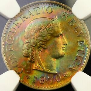 1970-SWITZERLAND-5-FIVE-RAPPEN-NGC-MS64-STAR-BU-MONSTER-TONED-UNC-COLOR-DR