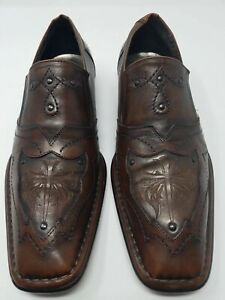 6c91fba523e MARK NASON Lounge Men s Brown U Rock Cross Leather Loafers Slip On ...