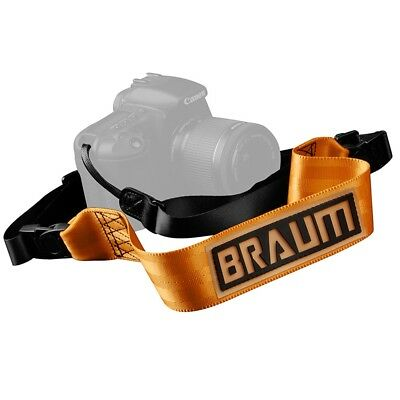 "Briljant Braum - Orange 2"" Seat Belt Style Camera Strap W/ Embossed Braum Logo -brpr-oncs"
