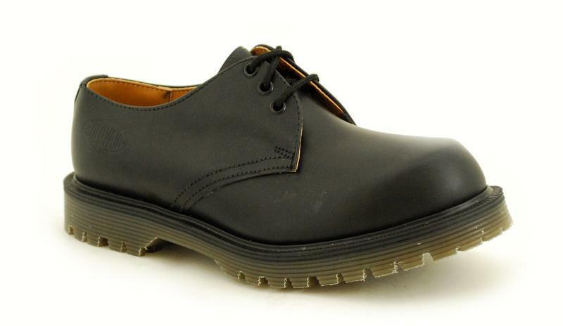 Solovair NPS Shoes Made in England 3 Eye Black Shoe Ben S029-C4222BK