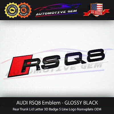 Pack of 1 GREATCO Car Styling Vehicle Logo Emblem Badge Car Accessories Decoration REAR LETTERS Q7 98mm Gloss Black for S LINE Quattro RS3 A4 S5 RS6 S7 R8 Q3 Q5 etc