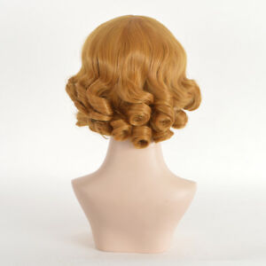Gold-Brown-Elegant-Short-Yellow-Hair-Messy-Spiral-Curly-Bobs-Perm-Flapper-Wig