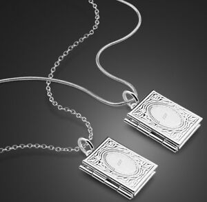 925 sterling silver book locket pendant necklace photo love snake or image is loading 925 sterling silver book locket pendant necklace photo aloadofball Choice Image