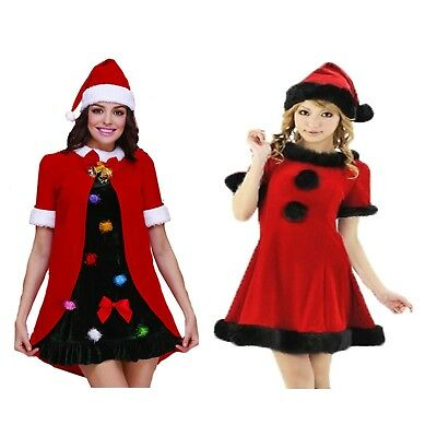 68f5f60f211e6 Ladies Christmas fancy dress black+red Santa or Christmas Tree costumes