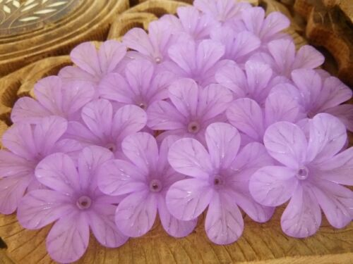 20 pce Large Frosted Acrylic Purple Hibiscus Flower Beads 33mm