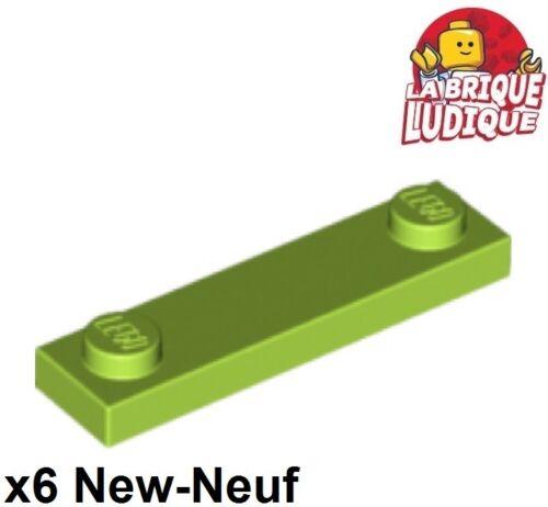 Lego 6x Plate Modified 1x4 2 Studs 2 tenons citron vert//lime 92593 NEUF