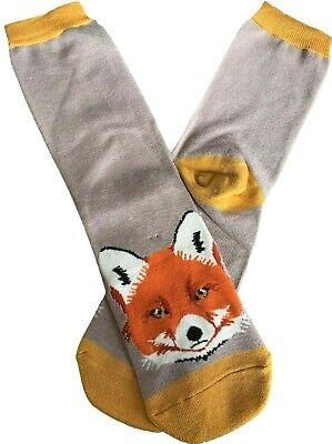 Mens Novelty Socks Orange Fox Print Fun Cotton Bamboo Blend Foxes UK Size 8-12