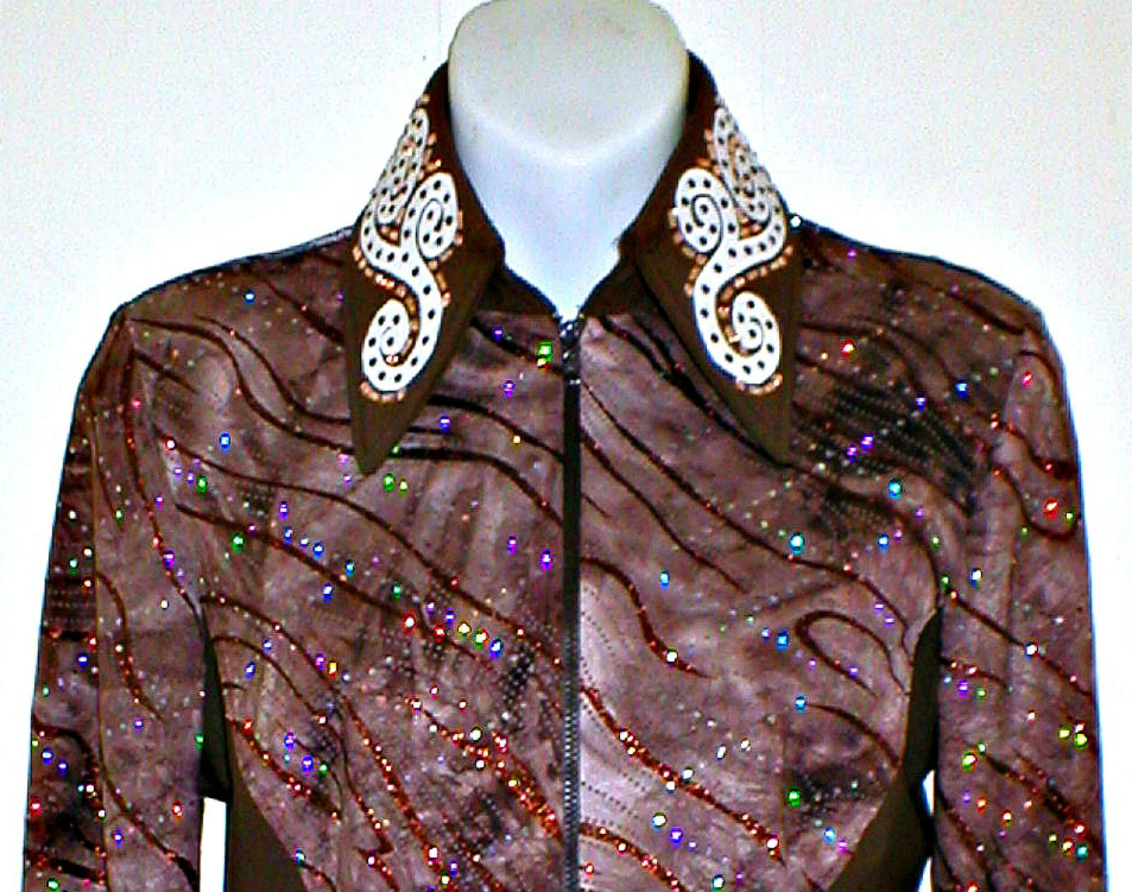 Woman's Large Brown Western Rail, Pleasure, Rodeo,Trail, & Glamour Shirt