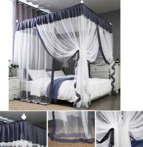 Details About 4 Corners Post Frame Curtain Bed Canopy Bedroom Canopies Net Wedding Decoration