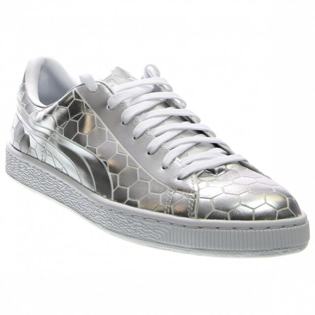 4a371ee0806d PUMA Basket Classic Metallic Mens Silver Patent Leather SNEAKERS ...